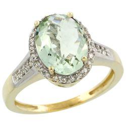 2.60 CTW Amethyst & Diamond Ring 14K Yellow Gold