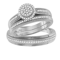 0.25 CTW Diamond Cluster Matching Bridal Wedding Ring 10kt White Gold