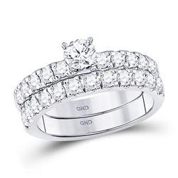 1.34 CTW Diamond Bridal Wedding Engagement Ring 14kt White Gold