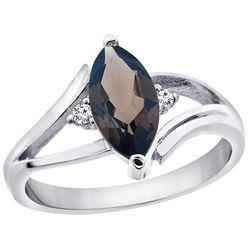1.24 CTW Quartz & Diamond Ring 14K White Gold