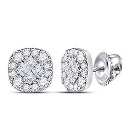 0.26 CTW Diamond Square Cluster Earrings 14kt White Gold