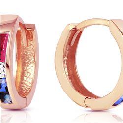 Genuine 1.28 ctw Ruby, White Topaz & Sapphire Earrings 14KT Rose Gold