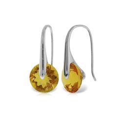 Genuine 11.50 ctw Citrine Earrings 14KT White Gold