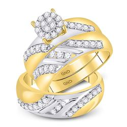 1.15 CTW Diamond Cluster Matching Bridal Wedding Ring 14kt Two-tone Gold