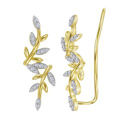 0.20 CTW Diamond Floral Climber Earrings 10kt Yellow Gold