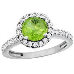 1.13 CTW Peridot & Diamond Ring 10K White Gold