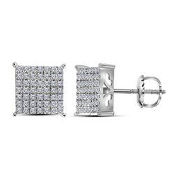 0.74 CTW Diamond Square Cluster Stud Earrings 10kt White Gold