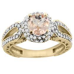 1.20 CTW Morganite & Diamond Ring 14K Yellow Gold