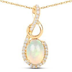 0.57 ctw Ethiopian Opal & Diamond Pendant 14K Yellow Gold