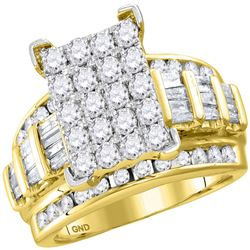 3.02 CTW Diamond Cindys Dream Cluster Bridal Wedding Engagement Ring 10kt Yellow Gold