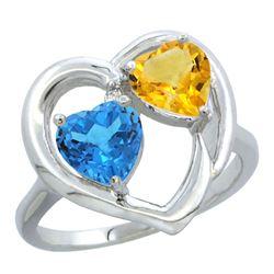 2.61 CTW Diamond, Swiss Blue Topaz & Citrine Ring 14K White Gold