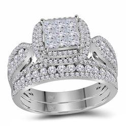 1.53 CTW Diamond Bridal Wedding Engagement Ring 14kt White Gold