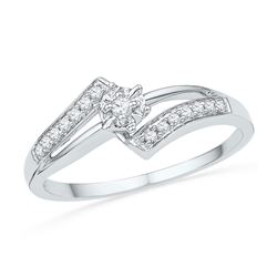 0.10 CTW Diamond Solitaire Bridal Wedding Engagement Ring 10kt White Gold