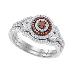 0.50 CTW Red Color Enhanced Diamond Bridal Wedding Ring 10kt White Gold