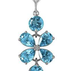 Genuine 3.15 ctw Blue Topaz Necklace 14KT White Gold