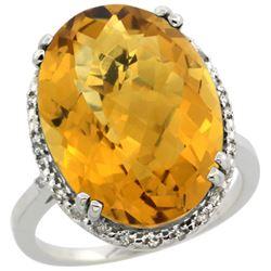 13.71 CTW Quartz & Diamond Ring 14K White Gold
