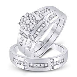 0.50 CTW Diamond Cluster Matching Bridal Wedding Ring 10kt White Gold