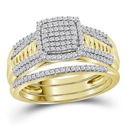 0.40 CTW Diamond Cluster Bridal Wedding Engagement Ring 10kt Yellow Gold