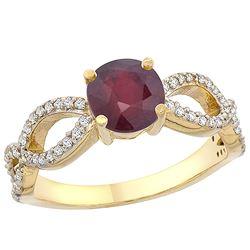 1.30 CTW Ruby & Diamond Ring 10K Yellow Gold