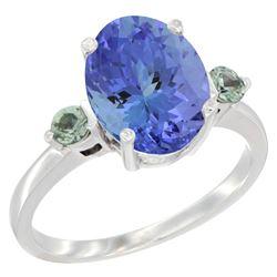 2.63 CTW Tanzanite & Green Sapphire Ring 14K White Gold