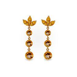 Genuine 8.7 ctw Citrine Earrings 14KT Rose Gold