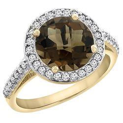 2.44 CTW Quartz & Diamond Ring 14K Yellow Gold