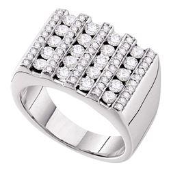1.50 CTW Channel-set Diamond Square Stripe Cluster Ring 14kt White Gold