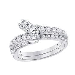 0.75 CTW Diamond 2-stone Bridal Wedding Engagement Ring 14kt White Gold
