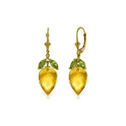 Genuine 20 ctw Citrine & Peridot Earrings 14KT Yellow Gold