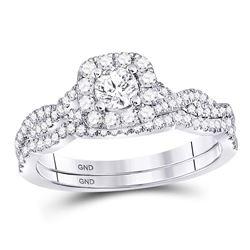 0.68 CTW Diamond Twist Bridal Wedding Engagement Ring 14kt White Gold