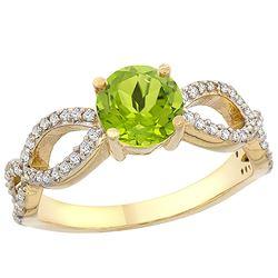 1 CTW Peridot & Diamond Ring 14K Yellow Gold