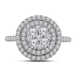 1.02 CTW Diamond Concentric Double Halo Cluster Ring 14kt White Gold