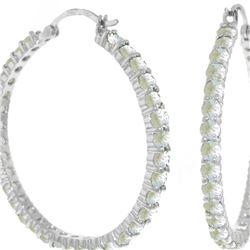 Genuine 6 ctw Aquamarine Earrings 14KT White Gold