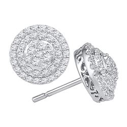 0.82 CTW Diamond Concentric Circle Layered Cluster Earrings 10kt White Gold