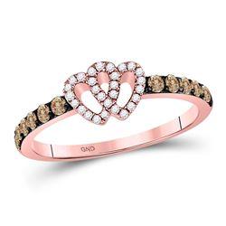 0.34 CTW Brown Diamond Heart Ring 10kt Rose Gold