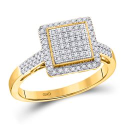 0.30 CTW Diamond Square Frame Cluster Ring 10kt Yellow Gold