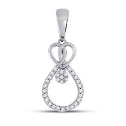 0.10 CTW Diamond Heart Teardrop Cluster Pendant 10kt White Gold