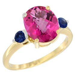 2.64 CTW Pink Topaz & Blue Sapphire Ring 10K Yellow Gold