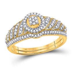 0.25 CTW Diamond Cluster Bridal Wedding Engagement Ring 10kt Yellow Gold