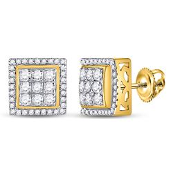 0.69 CTW Diamond Square Cluster Earrings 10kt Yellow Gold