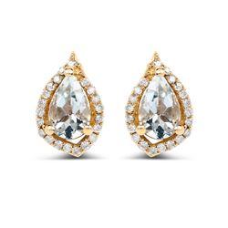 0.83 ctw Aquamarine & White Diamond Earrings 14K Yellow Gold