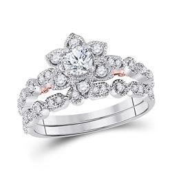 0.78 CTW Diamond Starburst Bridal Wedding Ring 14kt Two-tone Gold