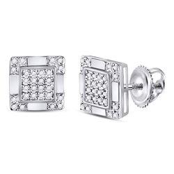 0.16 CTW Diamond Square Cluster Stud Earrings 10kt White Gold