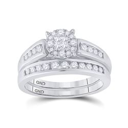 0.55 CTW Diamond Bridal Wedding Engagement Ring 14kt White Gold