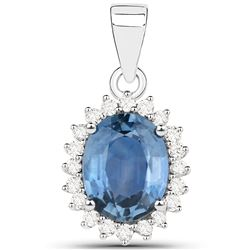 2.55 ctw Sapphire Blue & Diamond Pendant 14K White Gold