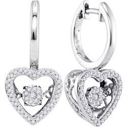 0.27 CTW Diamond Heart Moving Twinkle Dangle Earrings 10kt White Gold