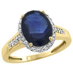 2.60 CTW Blue Sapphire & Diamond Ring 14K Yellow Gold