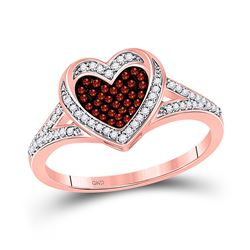 0.20 CTW Red Color Enhanced Diamond Heart Ring 10kt Rose Gold