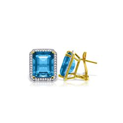 Genuine 15.6 ctw Blue Topaz & Diamond Earrings 14KT Yellow Gold