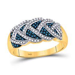 0.40 CTW Blue Color Enhanced Diamond Braid Ring 10kt Yellow Gold